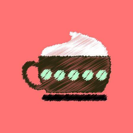 flat icon design collection  cappuccino coffee