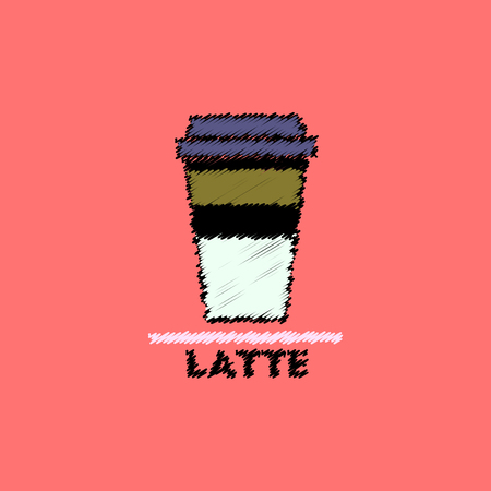 flat icon design collection  latte to go