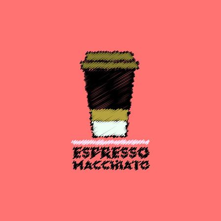 flat icon design collection  espresso macchiato to go Illustration