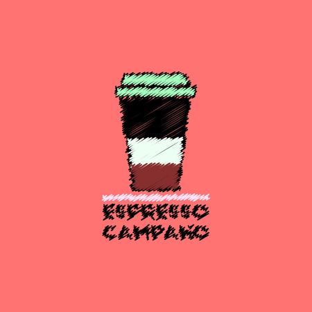 flat icon design collection  espresso campano to go