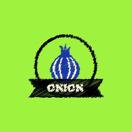 eco notice: flat icon design collection onion emblem