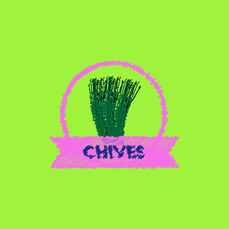 chives: flat icon design collection Kitchenware seasoning chives