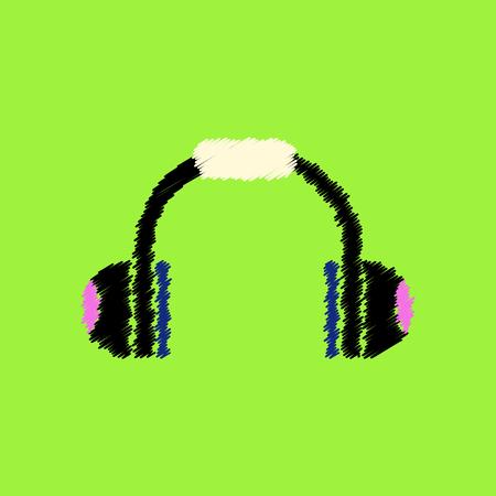 flat icon design collection  music headphones