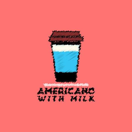 flat icon design collection americano with milk