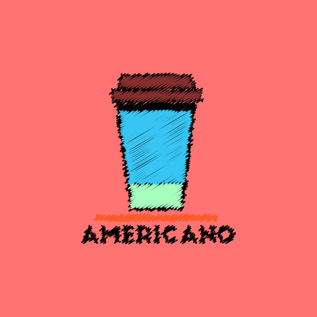 flat icon design collection  cup of americano