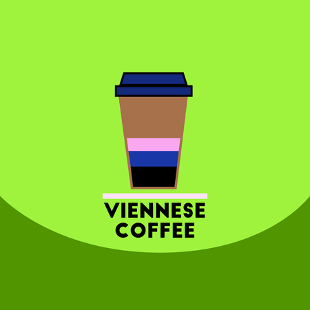 coffe break: flat vector icon design collection viennese coffee to go