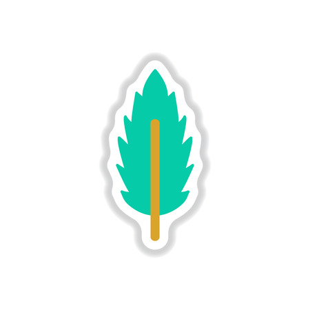poplar: Label with leaf shadow vector icon design collection tree leaf