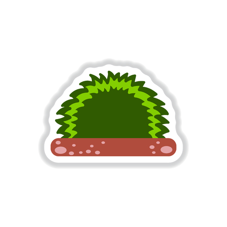 reflection of life: Labels with shadow flat vector icon grass and bush