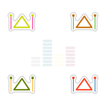 Set of color label design collection of musical instrument triangle