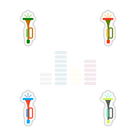 bongos: Set of color label design collection of musical instrument Trumpet