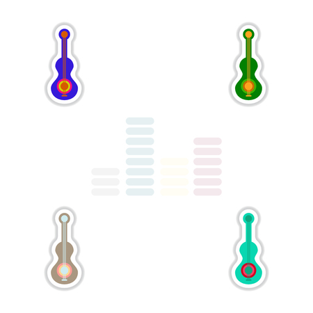 Set of color label design collection of musical instrument guitar Illustration