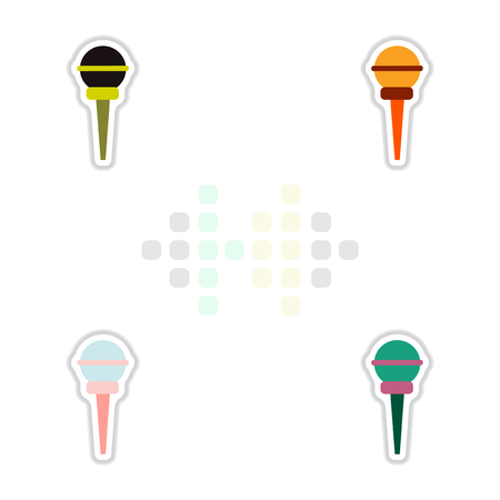 talker: Set of color label design collection of musical microphone in flat style