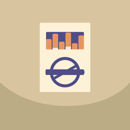 baccy: Open cigarettes pack box flat style vector illustration isolated on a olor background, icon logo design idea, smoke narcotic product with tobacco cigarette crossed-out in a circle