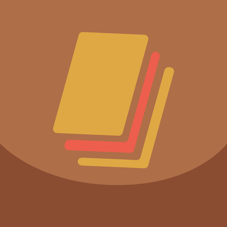 Flat style blank, realistic notepad, notebook isolated on colour square Illustration