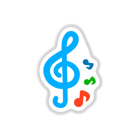 crotchet: Color label design collection of music note Illustration