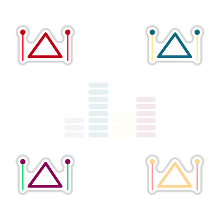 triangle musical instrument: Set of color label design collection of musical instrument triangle