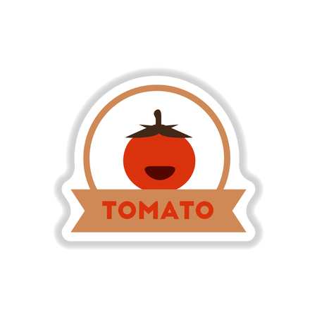 Label icon on design sticker collection tomato with ribbon