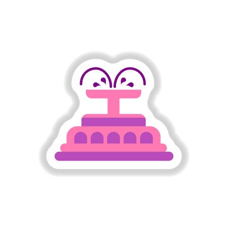 Label icon on design sticker collection fountain Illustration