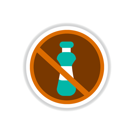 no water: Label icon on design sticker collection ramadan festival no water Illustration