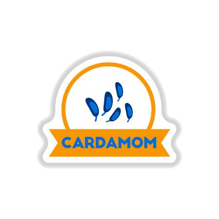 Label icon on design sticker collection kitchenware seasoning cardamom with ribbon Illustration
