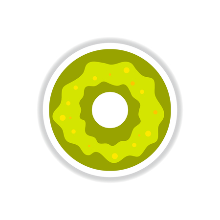 junkfood: Label icon on design sticker collection donut with cream Illustration