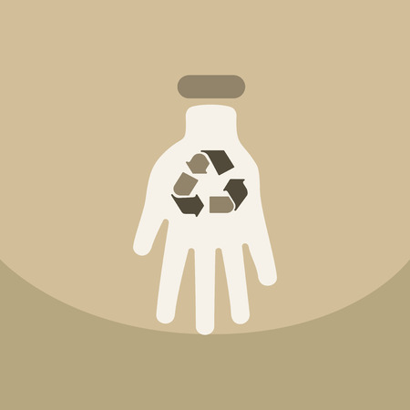 Illustration of an isolated reuse icon with a nuclear power on hand with circle