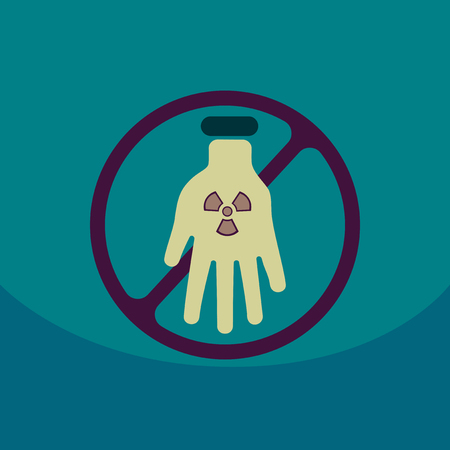 Illustration of an isolated reuse icon with a nuclear power on hand with circle No entrance!