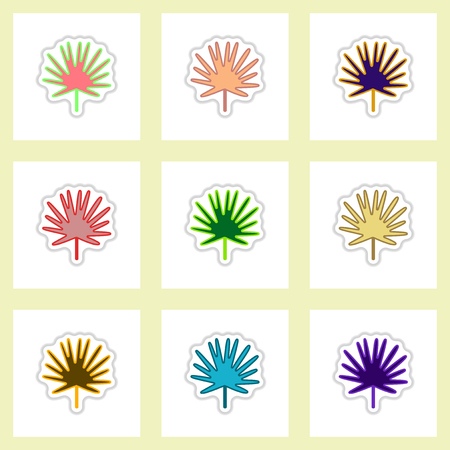 gum tree: set of Labels with shadow leafs vector icon design collection tree leaf