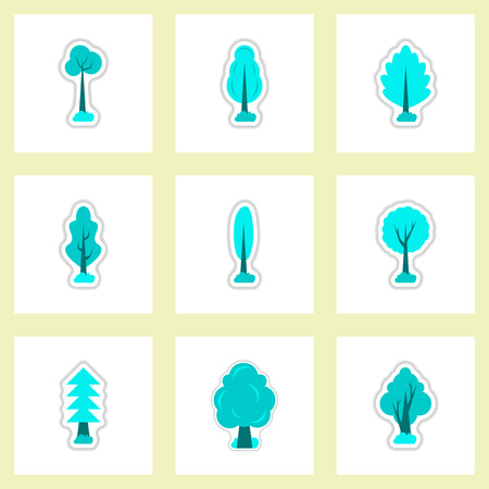 gum tree: set of Labels with shadow leafs vector icon design collection tree Illustration