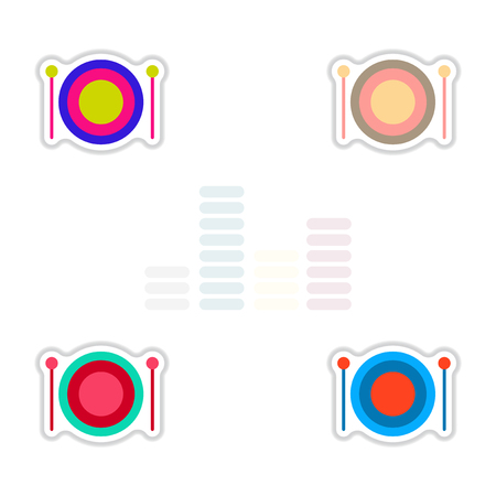 Set of color label design collection of musical instrument drum
