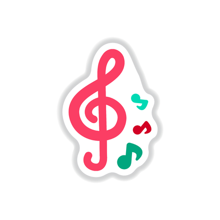 crotchet: color label design collection of music note