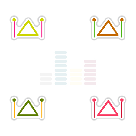 xilofono: Set of color label design collection of musical instrument triangle