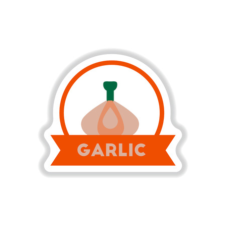 eco notice: Label icon on design sticker collection garlic with ribbon Illustration