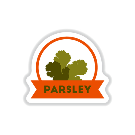 Label icon on design sticker collection kitchenware seasoning parsley with ribbon