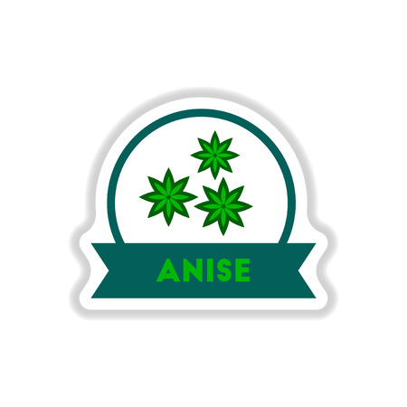 anise: Label icon on design sticker collection kitchenware seasoning anise with ribbon