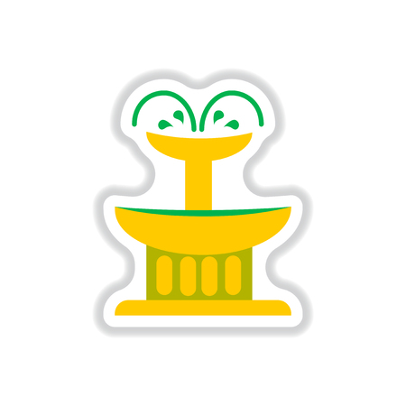 dessert buffet: Label icon on design sticker collection fountain Illustration
