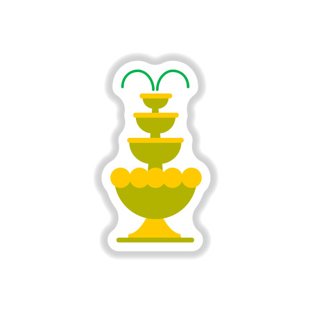 Label icon on design sticker collection fountain Illustration