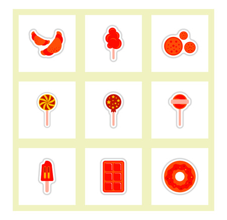 label icon on design sticker collection candy and sweets set