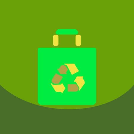 Light color paper bag with recycle sign. Vector shopping icon. White contours