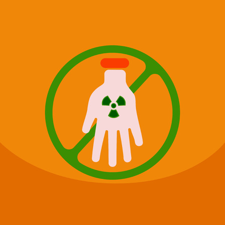 no entrance: Illustration of an isolated reuse icon with a nuclear power on hand with circle No entrance!