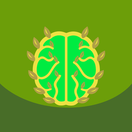 Eco brain with leafs on ecology style with Bashers