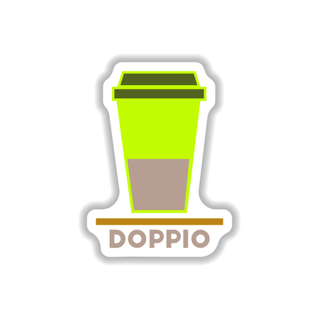 Label Frames and badges vector icons coffee emblem doppio to go