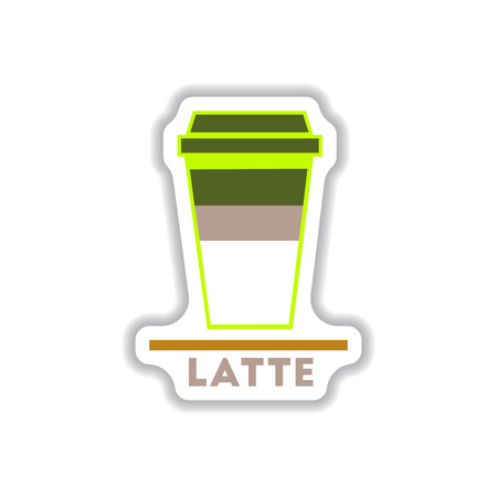 pause icon: Label Frames and badges vector icons coffee emblem latte to go Illustration