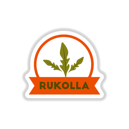 Label icon on design sticker collection kitchenware seasoning rukolla with ribbon