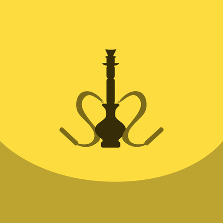 Flat icon with dark shadow hookah and hookah accessories, vector illustration