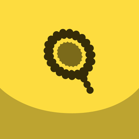 Flat icon on colour square Arabic traditional prayer beads