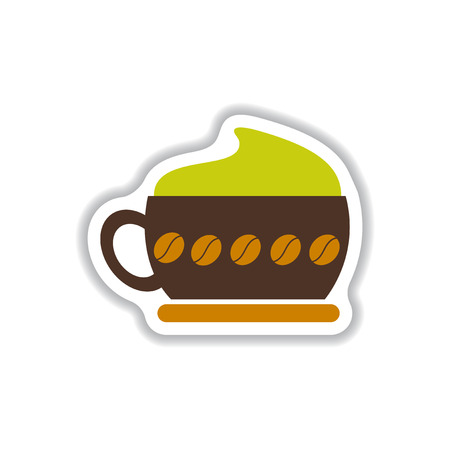 Label Frames and badges vector icon design collection coffee emblem cappuccino coffee Illustration