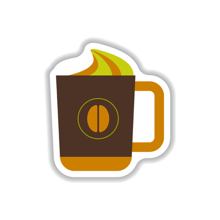 Label Frames and badges vector icon design collection coffee emblem cup of hot coffee Illustration