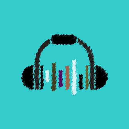 flat vector icon design collection  music headphones Illustration