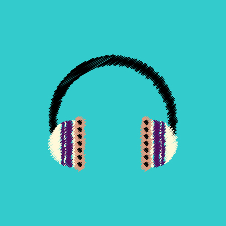 earphone: flat vector icon design collection  music headphones Illustration